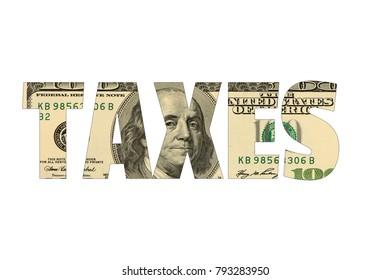 Taxes with american dollar background