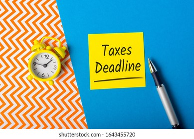 Taxes deadline and Tax time. Records on workplace of an accountant or financial advisor