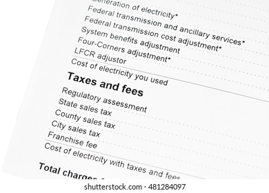 Taxes and Fees on a residential electric bill
