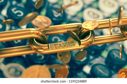 Taxes symbol on gold chain with falling coins. Finance and costs on old calculator background.
