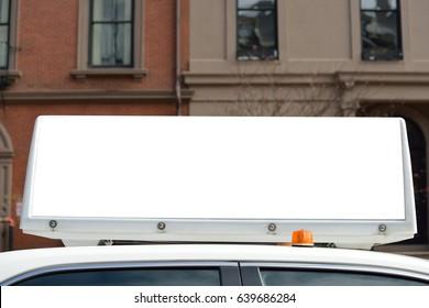 Taxi advertising closeup