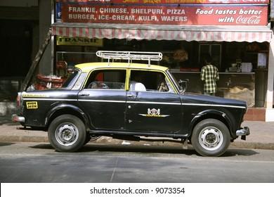 taxi awaiting passenger, mumbai, india