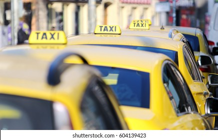taxi cab standing on the airport waiting stand