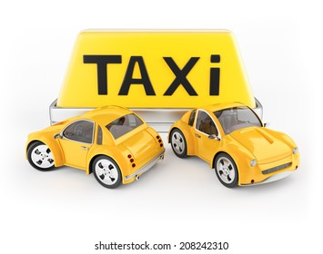 Taxi cabs and roof sign isolated on white background. 3d rendering image