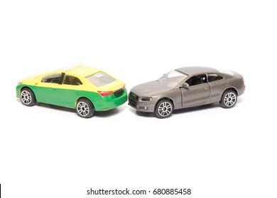 taxi and car model crash site