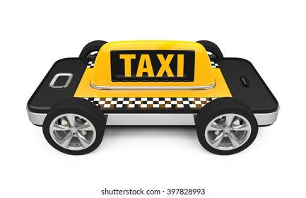 Taxi Car Sign on Smartphone