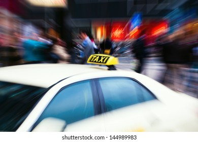 taxi in the city with creative zoom effect