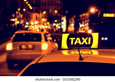 taxi in the city at night