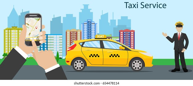 Taxi driver Call with smartphone service background the city. illustration in flat design. Raster version