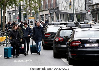 Taxi drivers protest in Parliament of the French Community against competition from rival transport company Uber in Brussels, Belgium on Apr. 21, 2017