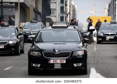 Taxi drivers use their vehicles to block roads during a protest against competition from rival transport company Uber in Brussels, Belgium on Mar. 27, 2018.