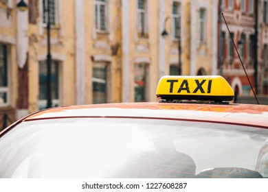 Taxi and European old buildings at Arbat street in Vladivostok, Russia
