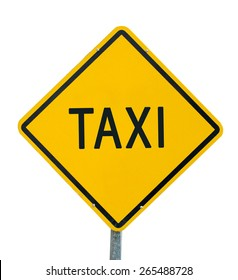 Taxi road sign on white background.