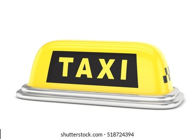 Taxi roof sign. Yellow and black roof sign. Concept of taxi, tourism, city transportation. 3D rendering.
