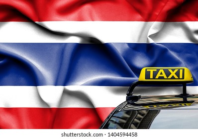 Taxi service conceptual image in country of Thailand