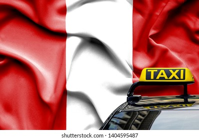 Taxi service conceptual image in country of Peru
