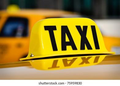 Taxi Sign Close Up