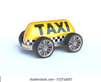Taxi sign with wheels 3d rendering