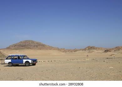 Taxi in the Sinai Desert, Egypt