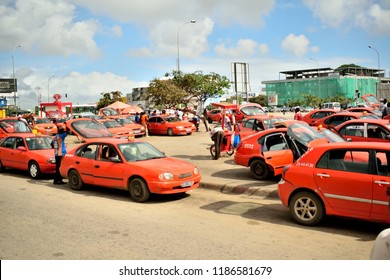 taxi station in Abidjan, 23 September 2018, ivory coast