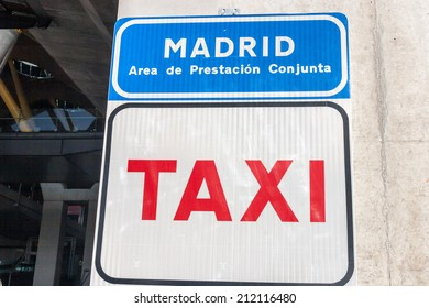 Taxi Stop Sign at Madrid Airport Barajas