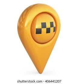 taxi target map pointer. GPS locate symbol; 3D icon isolated