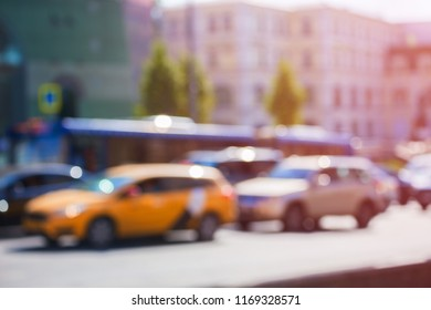 Taxi in a traffic jam in Moscow with the bokeh effect and blur