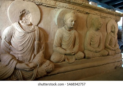Taxila, Punjab / Pakistan - Aug 14 2005: Buddhist carvings at the Jaulian Monastery at Taxila, Pakistan. Taxila is an ancient archaeological site recognized by UNESCO. Jaulian Monastery, Taxila.