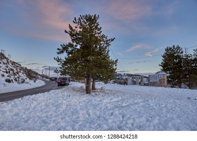 TAYGETUS MESSENIA, GREECE - JANUARY 2019: Scenic view of the snowy Taygetus mountain (also known as Taugetus or Taygetos) at Touristiko area about half an hour from Kalamata city in Peloponnese Greece