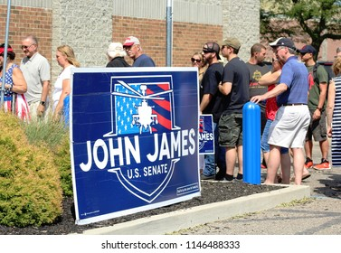 Taylor, MI/USA: July 29, 2018 – American voters line up to hear Republican candidate for Senate John James speak at an event in Michigan.