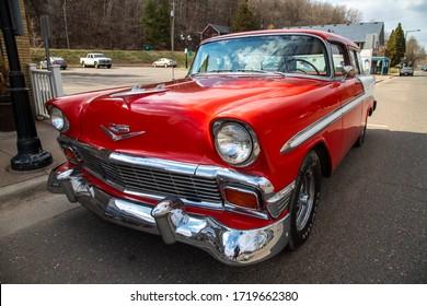Taylors Falls, MN USA April 17, 2020 Classic Vintage 56 Chevrolet Bel Air Nomad
