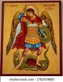 Taylors Falls, MN USA July 22, 2020 Picture of St. Michael the Archangel defeating the devil.