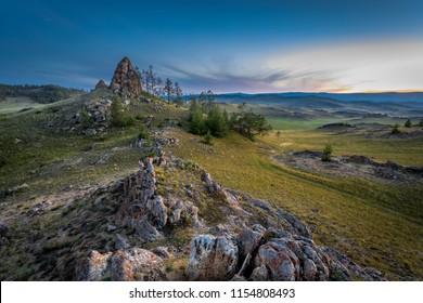 Tazheran steppes, sunset, landscape, summer