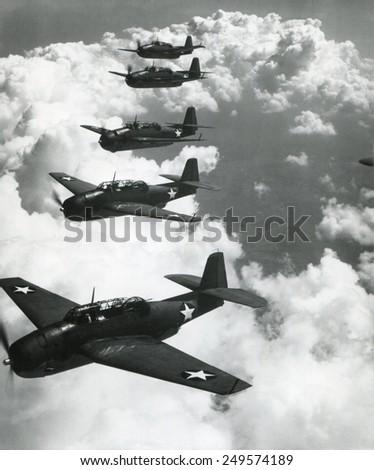 TBF Avengers flying in