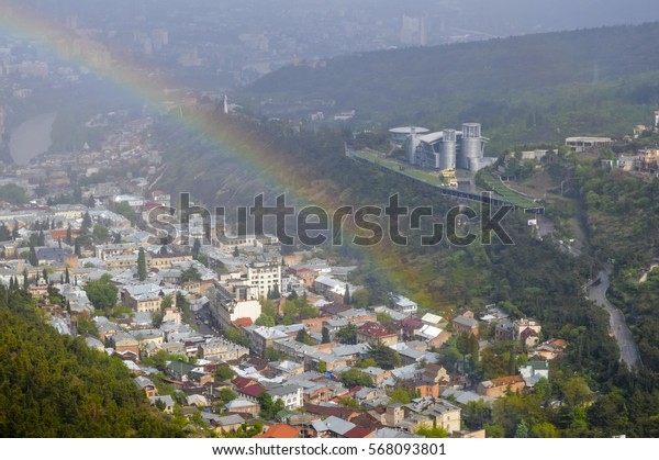 Tbilisi aerial cityscape view in Tbilisi, the capital of Georgia