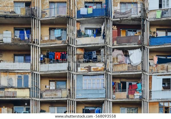 Tbilisi apartment building close up front view, Georgia