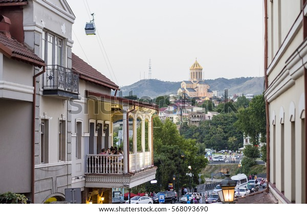Tbilisi cityscape with Holy Trinity Cathedral of Tbilisi (Sameba) view in Tbilisi, the capital of Georgia