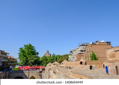 Tbilisi / Georgia - 05.16.2019: Abanotubani is the ancient district of Tbilisi old town, known for its sulfur baths.