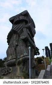 Tbilisi, Georgia - 08 08 2018: Monument History of Georgia (or History Memorial of Georgia) The monument is located near the Tbilisi Sea. It was created by Zurab Tsereteli in 1985, but was never full