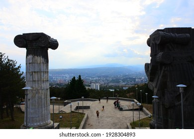 TBILISI, GEORGIA - 08 08 2018: View of the square of the History Monument of Georgia