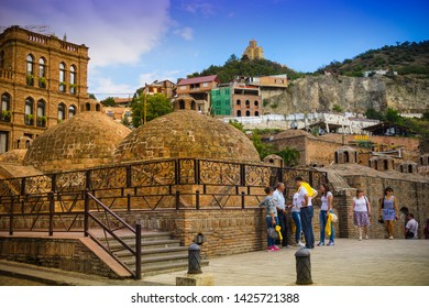 Tbilisi, Georgia. 15.08.2018 Panorama of Tbilisi. Sulfur baths - bathhouses with pools of hot, sulfur-rich water, with optional private rooms, massage