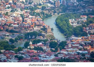 Tbilisi, Georgia - 30.07.2019: Aerial overview of Tbilisi, the capital of Georgia. Travel.
