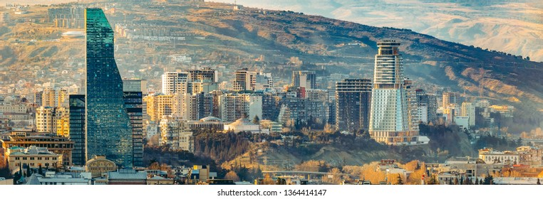 Tbilisi, Georgia, 4 March 2019 Aerial city view, modern architecture, sunny day, skyscrapers