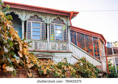 Tbilisi, Georgia - 8 October 2016: Exterior of an old house with wood balcony in the old town of Tbilisi, Georgia.