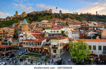 Tbilisi, Georgia - April 06: Tbilisi's Old Town main square Meidan attracts many locals and tourists with its shops and restaurants. On April 06, 2017, in Tbilisi, Georgia.
