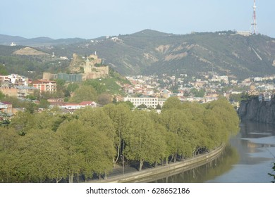 Tbilisi, Georgia - april 19, 2017: view of the city on a sunny spring day