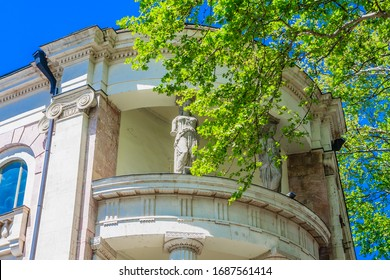 Tbilisi, Georgia - April  27, 2019:   Fragment of The building is the former Officer Assembly located on the Rustaveli Avenue.