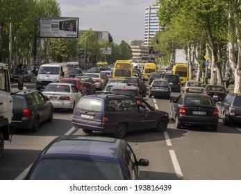 TBILISI, GEORGIA - April 29,  2014: Traffic on Tsereteli Avenue, Tbilisi