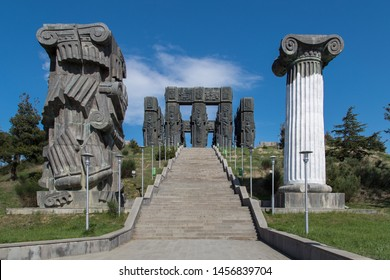 TBILISI, GEORGIA - APRIL 29, 2019: The Chronicles of Georgia monument built by Tsereteli on a hill near Tbilisi. Stonehenge of Georgia.