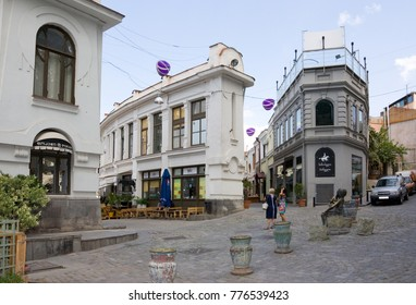 TBILISI, GEORGIA - AUGUST 07, 2013: Shardeni street is a pedestrian street in the old part of Tbilisi. Tbilisi is capital of Georgia.